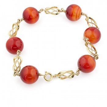14ct gold Red Lace Agate Bead Bracelet