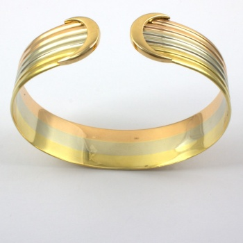 18ct gold 3 tone 35.5g Torc Bangle