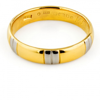 22ct gold & Plat 4.4g Band Ring size N