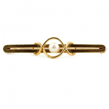 9ct gold Cult F'water Pearl Bar Brooch