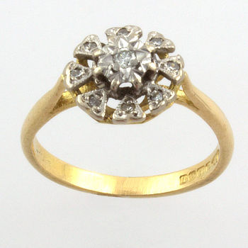 18ct gold Diamond Cluster Ring size L½