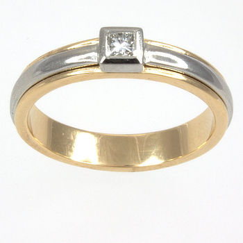 18ct gold 2 tone Diamond Single stone Ring size N