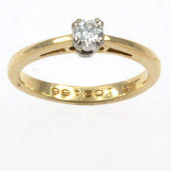 18ct gold Diamond 16pt Single stone Ring size I½