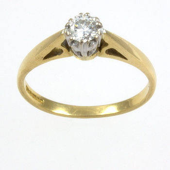 18ct gold Diamond Single stone Ring size K