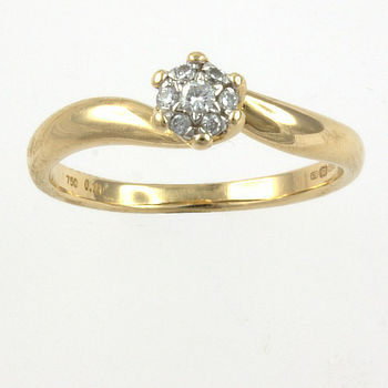 18ct gold Diamond 10pt Cluster Ring