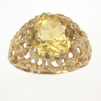 9ct gold Citrine Single stone Ring size M