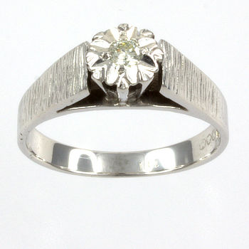 18ct white gold Diamond Single stone Ring size N