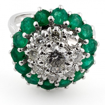 18ct white gold Emerald/Diamond 1.2ct Cluster Ring size L