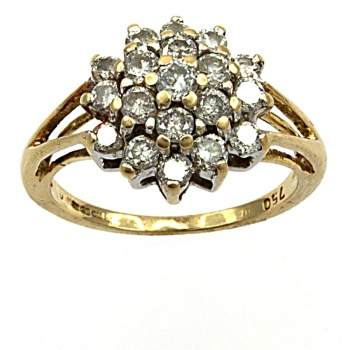 18ct gold Diamond 36pt Cluster Ring size L