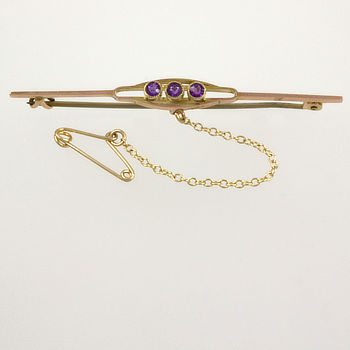 9ct gold (part) Amethyst Bar Brooch
