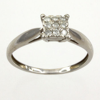 9ct white gold Diamond 15pt Cluster Ring size L½