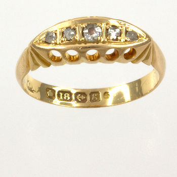 18ct gold Diamond 5 stone Ring size J½