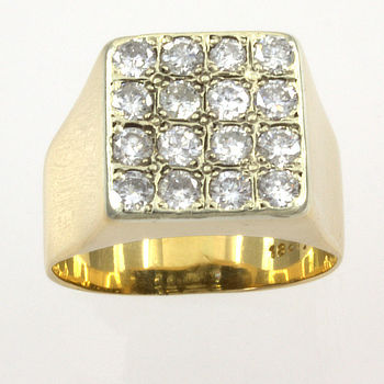 18ct gold Diamond Signet Ring size Q