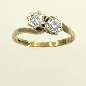 9ct gold Diamond 20pt 2 stone Ring size K½