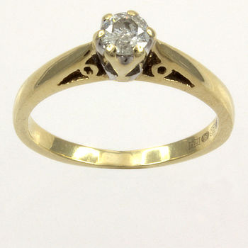 9ct gold Diamond25pt Single stone Ring size K½
