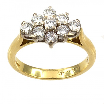18ct gold 72pt Diamond Cluster Ring size M