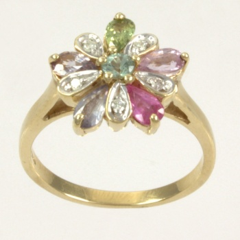 9ct gold Real Stones Cluster Ring size N