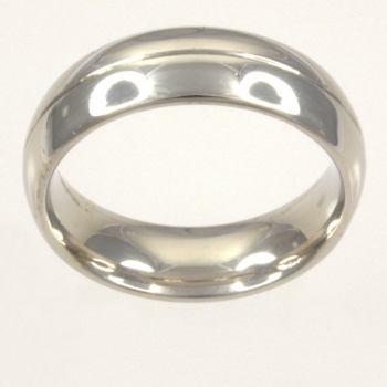9ct white gold 8g Band Ring size O
