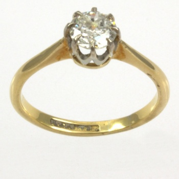 18ct gold & Plat Diamond 60pt Single stone Ring size M