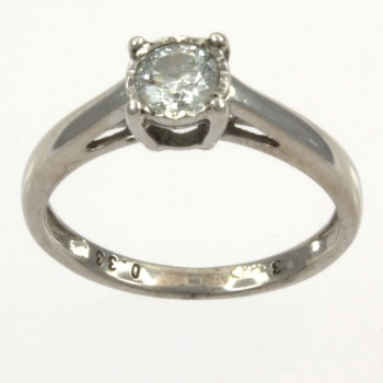 9ct white gold Diamond Single stone Ring size K