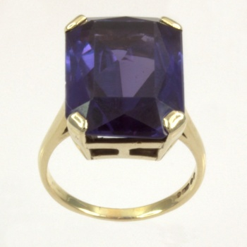 9ct gold Synthetic Sapphire Single stone Ring size K½