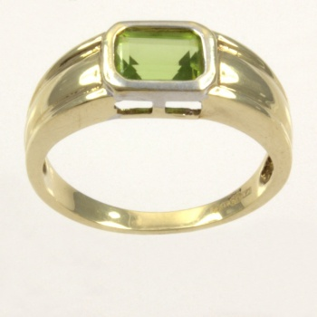 9ct gold Peridot Single stone Ring size N