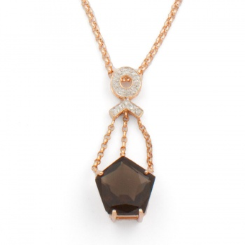 9ct rose gold Smoky Quartz/Diamond stone-set necklet Pendant with chain