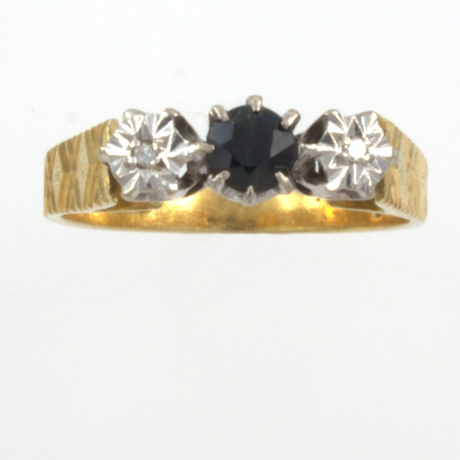 Secondhand 18ct Gold Sapphire Diamond 3 Stone Ring