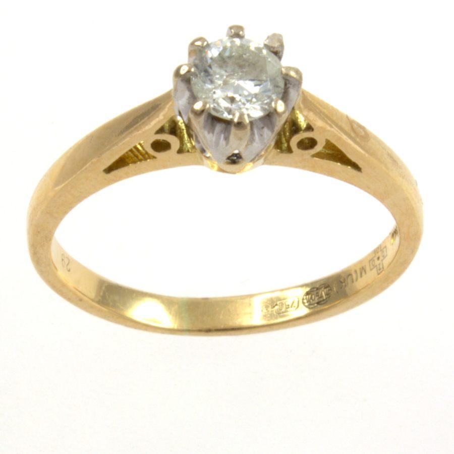 Secondhand 18ct Gold Diamond 29pt Single Stone Ring