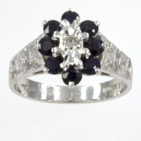 18ct white gold Sapphire/Diamond Cluster Ring size M