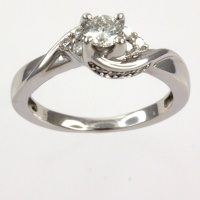 18ct white gold Diamond 33pt Single stone Ring size I½