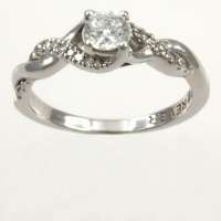 18ct white gold Diamond 32pt Single stone Ring size K