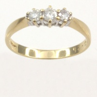 9ct gold Diamond 3 stone Ring size J½