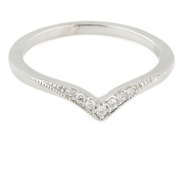 9ct white gold Diamond Wishbone Ring size L½