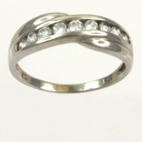 9ct white gold cz half eternity Ring size J
