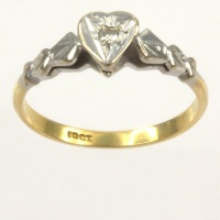 18ct gold 2 tone Diamond Single stone Ring size L