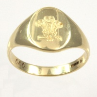 9ct gold P. O. W. Feathers Signet Ring size O